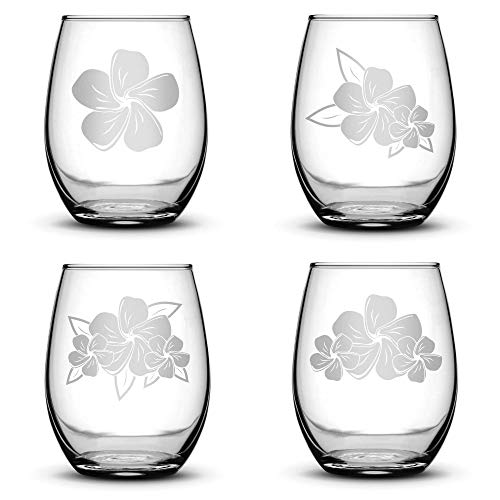 Set of 4, Plumeria Stemless Wine Glasses, Made in USA, Hand Etched 14.2 oz Unique Glass Gifts, Sand Carved by Integrity Bottles