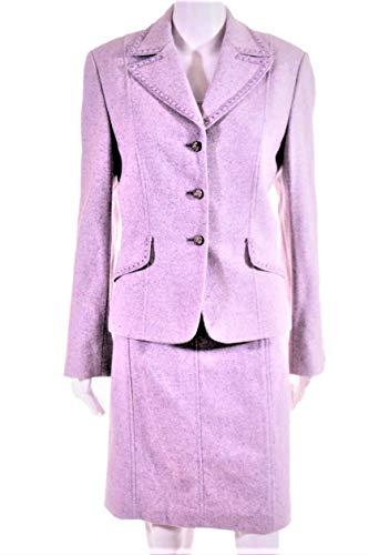 Tahari by NEIMAN Marcus Women's Violet Pink Wool/Silk Herringbone Skirt Suit Embellished Trim SZ 12 New with Tags - Tahari Silk Suit