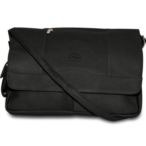 Pangea Black Leather Laptop Messenger Bag - Colorado Rockies (Colorado Rockies Messenger Bag)