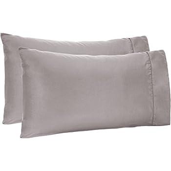 AmazonBasics Light-Weight Microfiber Pillowcases - 2-Pack, King, Dark Grey