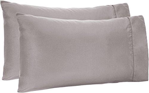AmazonBasics Microfiber Pillowcases - 2-Pack, King, Dark Grey