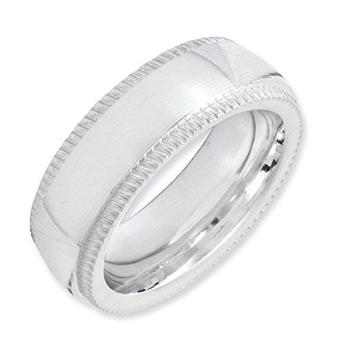 925 Sterling Silver 6mm Comfort Fit Milgrain Wedding Ring Band Size 4.5 (Fit Comfort Milgrain Ring)