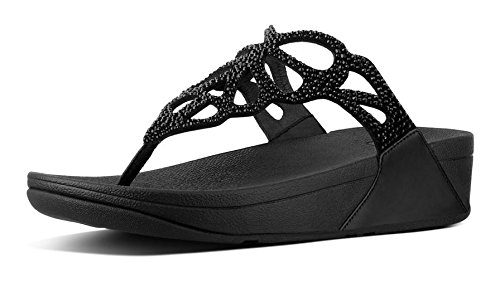 (FitFlop Women's, Bumble? Crystal Toe Thong Sandal Black 9 M)