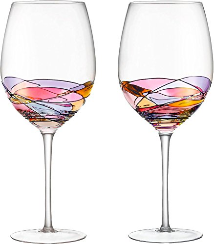 Red Wine Glasses Set of 2 Hand Painted Designed with Strong Presence by DAQQ, Inspired by the 'Duomo di Milano', Fine Addition To Any Wine Decanter, Unique Gift for Wine - Glasses Owl Rimmed