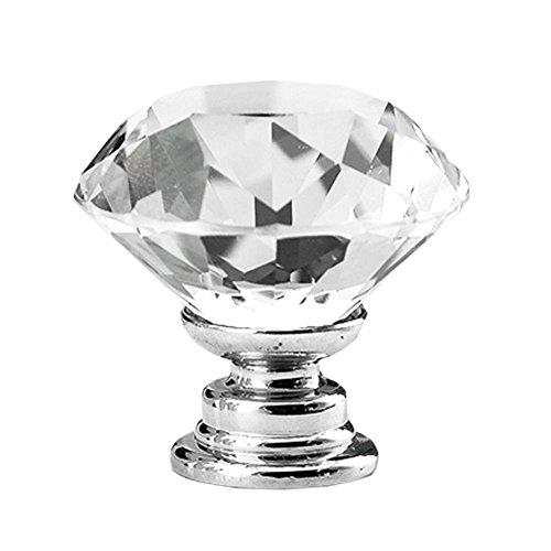 Outlet Rommeka 12Pcs Door Knobs Crystal 30mm Diamond Shape For  Cupboard/Drawer Dresser Wardrobes Doorknob