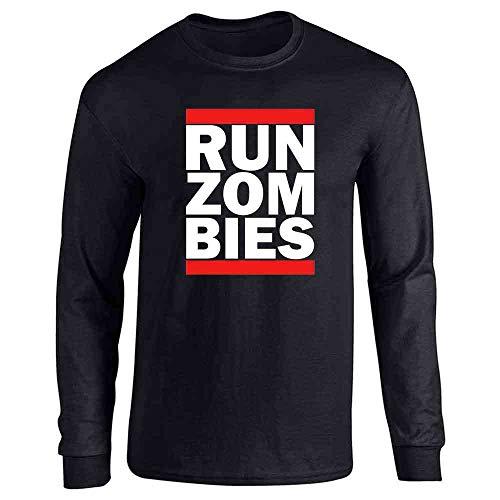 Pop Threads Run Zombies Retro Logo Parody Funny Halloween Black L Long Sleeve T-Shirt - Sleeve Zombies Long Funny