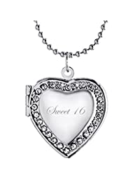 Latigerf Sweet 16 Heart Locket Necklace Engraved Pendant Charm Hold Picture Photo for Women
