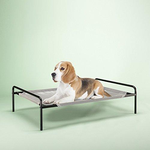 Zinus Elevated Metal Framed Comfort Pet Bed Medium in Grey