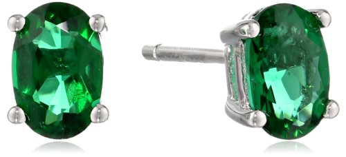 Sterling-Silver-6x4-Oval-Created-Emerald-Gemstone-Stud-Earrings