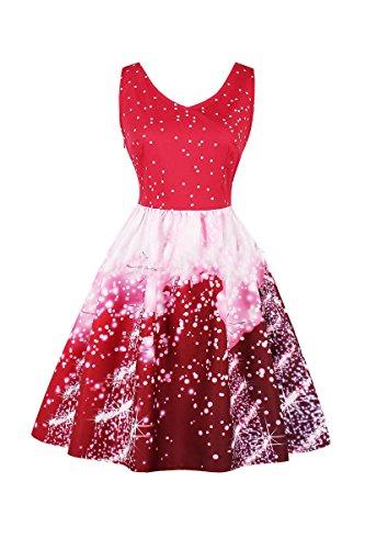 AEETE Damen Kleid Red Starry Sky K36vs