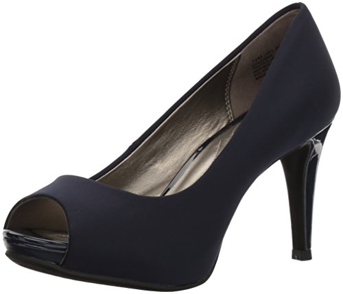 Bandolino Women's Rainaa Pump, Navy Lycra, 8.5 M US (Blue Peep Toe Shoes)