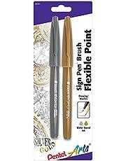 قلم لمس بينتيل آرت، طرف فرشاة فود، ذهبي/فضي، حزمة من 2 (SES15CBPXZ)