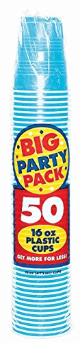 Amscan Caribbean Blue Big Party Party 16 oz. Plastic Cups (50)