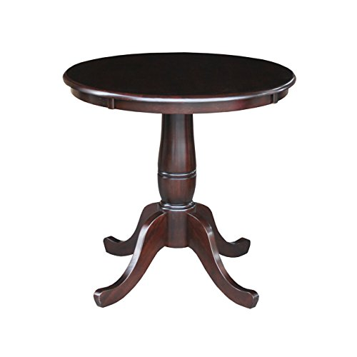 International Concepts 30-Inch Round by 30-Inch Round Top Ped Table, Rich Mocha