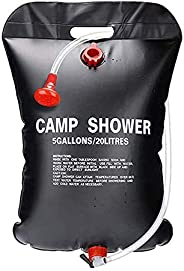 Outdoor Camping Shower Bag, Portable 5 Gallons/20L Solar Camp Shower Bag with On/Off Switchable Shower Head an