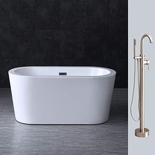 "Woodbridge BTA0088 Acrylic Freestanding Contemporary Soaking Tub Overflow and Drain BTA1588-B,with Brushed Nickel F0001, 56"" Bathtub + Faucet F-0001"