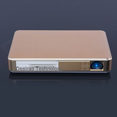 4K UHD 3D DLP Mini Pocket Home Theater Projector Android4.4 Octa Core GPU 1280x720 Native Resolution Support 2160P 1080P HDMI USB LED Lamp Alloy Body Youtube Facebook Gold W10 by Deeirao