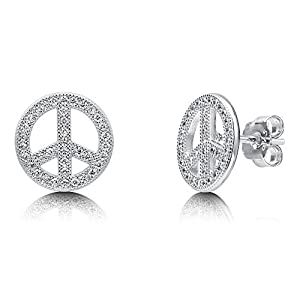 BERRICLE Rhodium Plated Sterling Silver Cubic Zirconia CZ Peace Sign Fashion Stud Earrings