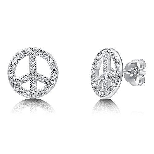 (BERRICLE Rhodium Plated Sterling Silver Cubic Zirconia CZ Peace Sign Fashion Stud Earrings)