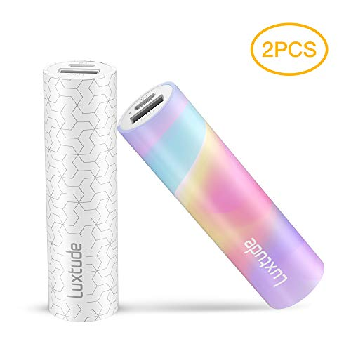 Luxtude myColors 2 PCS 3350mAh Gift Portable Charger for iPhone, Samsung Galaxy, LG, Pixel and Other Android Phone, Stylish Mini Power Bank, Lipstick Compact External Battery Pack
