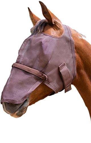 - Kensington Signature Removable Nose Fly Mask - Protects Horses Face Nose from Insects, UV Rays, While Allowing Full Visibility - Ears Forelock Able to Come Through The Mask (M, Sorrel)