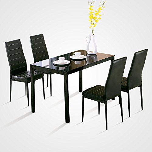 4family 5 piece dining table set 4 chairs glass metal for Kitchen set node attributes