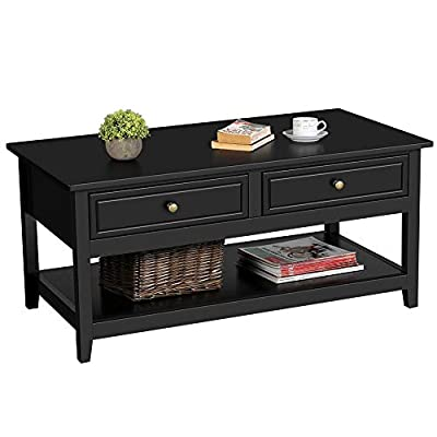 Topeakmart Modern Coffee Table with 2 Drawers and 1 Storage Shelf, Center Tables for Living Room, Black