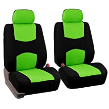 FH GROUP FH-FB050102 Pair Set Flat Cloth Car Seat Covers, Green / Black - Fit Most Car, Truck, Suv, or Van