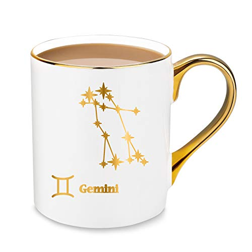 24K Gold Gemini Constellation Star Design Fine Bone China Coffee & Tea Mugs - 10oz - Gift Ideas for -