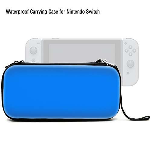 ADVcer Nintendo Switch Case, EVA Waterproof Hard Shield Protective Travel Carrying Case with Double Zipper and Hand Wrist Strap for Switch Console with Joy-Con Controller and Game Card (Blue)