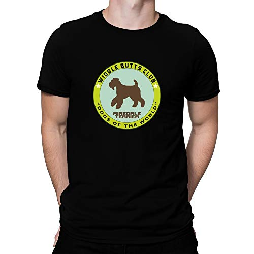 Teeburon Airedale Terrier Wiggle Butts Club Pin T-Shirt L Black
