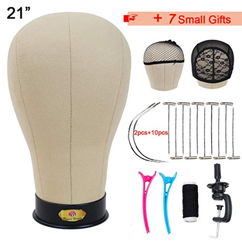 Cork Canvas Block Manikin Head With Stand Canvas Head for Wigs Block Head Mannequin With Mount Hole 21 Inch