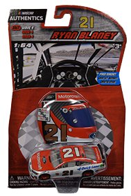 NASCAR Authentics Ryan Blaney #21 Motorcraft Ford 1/64 Scale Diecast With Mini Replica Helmet Magnet