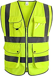 XIAKE 9 Pockets High Visibility Reflective Safety Vest, Zipper Front, Meets ANSI/ISEA Standards(Large,Yellow)