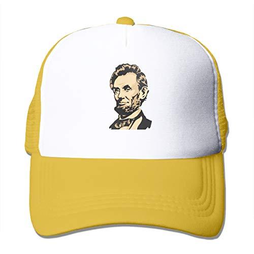 HiPiClothK Unisex Abraham Lincoln Portrait Trucker Hats Yellow