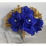 Royal-Blue-Gold-Rose-Hydrangea-Bridal-Wedding-Bouquet-Boutonniere