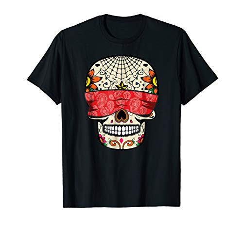 See No Evil Sugar Skull T-Shirt Halloween Day Of The Dead -