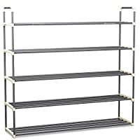 Shoe Rack with 2 Shelves-Two Tiers for 12 Pairs-For Bedroom, Entryway, Hallway, and Closet- Space Saving Storage (Renewed)