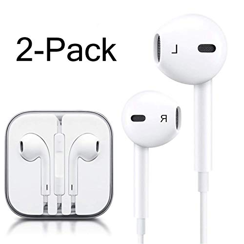 iPhone Headphones Ear Buds with Mic Remote Volume Control Earphone Headset Compatible iPhone 6s 6 5s Se 5 5c 4s Plus iPod iPad White (2-Pack) by Generic
