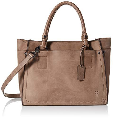 FRYE Demi Large Leather Satchel Handbag, grey