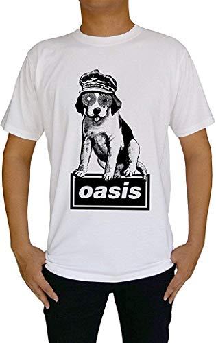(Cool Oasis Music Band Mad Dog Rock Men's T-Shirt,White,Medium)