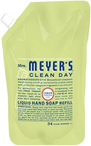 Mrs. Meyer's Clean Day Liquid Hand Soap Refills, Lemon Verbena, 34-Ounce (Pack of 6)