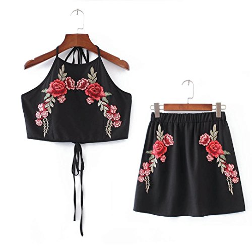 2017 Hot Sale! AMA(TM) Women Sexy 2 Piece Set Sexy Appliques Rose Sleeveless Strap Camisole Crop Tops Vest + Skirt Outfits (S, Black) by AMA(TM) (Image #4)