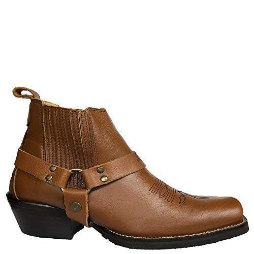 (Brunello's Silverado Men's Leather Square Toe Western Boot with Low Cut in Atlanta Whiskey Brown)