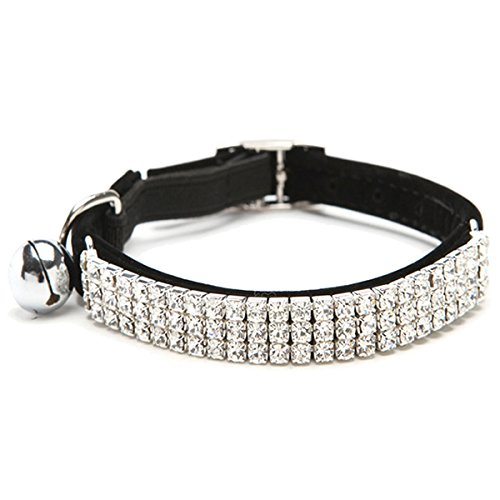 SODIAL(R) Collar Cat Baby Puppies Dog Safety Elastic Adjustable with Diamond Rhinestone bell Soft(black) S