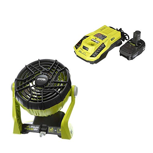 Price comparison product image Ryobi 18-Volt ONE+ Hybrid Portable Fan with Lithium-Ion Battery and Charger (Renewed)