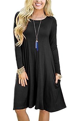 GRECERELLE Womens Long Sleeve Casual Swing Dresses Flare Midi Dress Knee Length