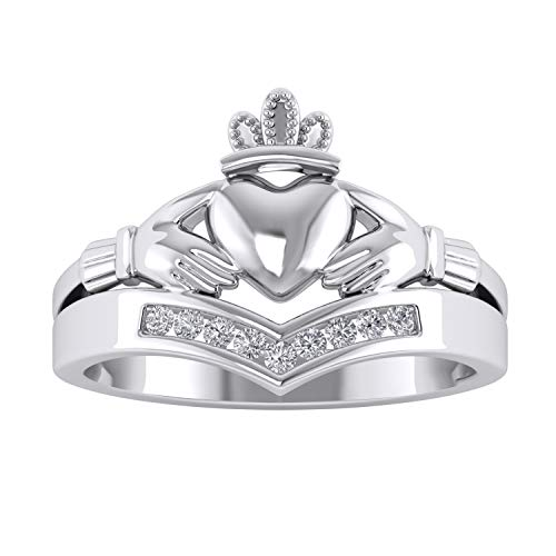 Trillion Jewels Chevron Style Claddagh Engagement Ring 0.11 CT Round Cut Diamond 14K White Gold Fn ()