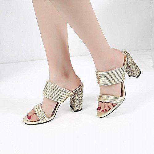 High Slippers Womens Gold Heel Toe Sandals Sequins Open Shiny Carolbar Z86wXxqOCO