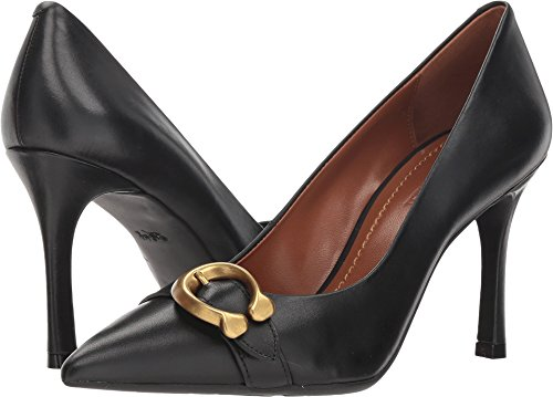 Coach Women's Waverly 85mm Pump with Signature Buckle Black Leather 8.5 M (3 Buckle Black Pump)